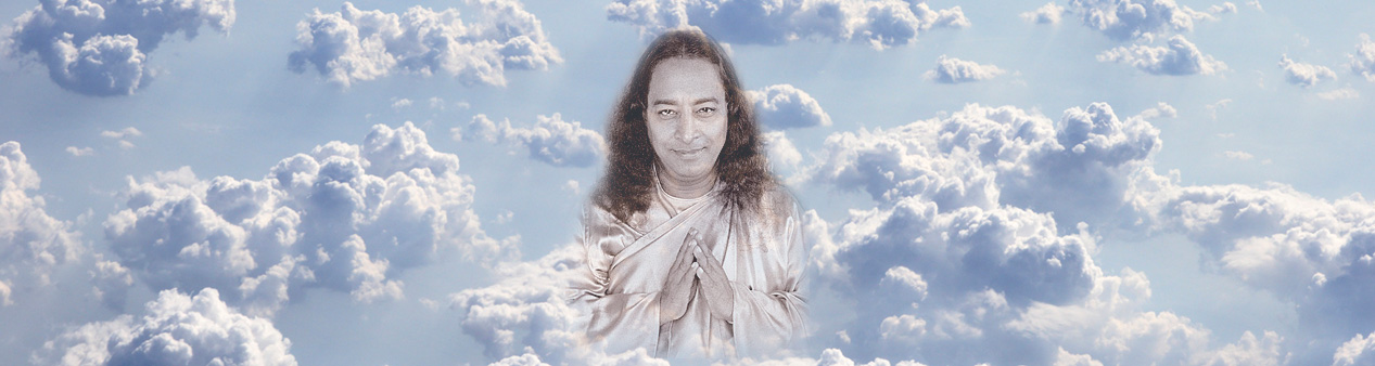 yogananda photoshoped into clouds